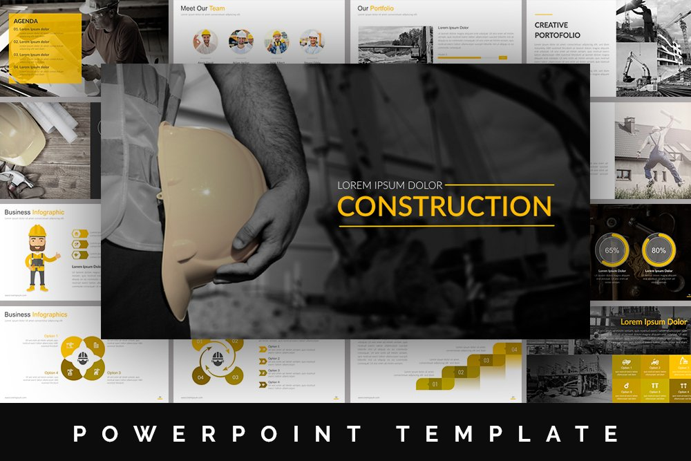construction powerpoint template presentation templates. Black Bedroom Furniture Sets. Home Design Ideas