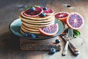 Pancakes with blood oranges