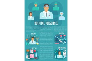Dentistry, ophthalmology or urology vector poster