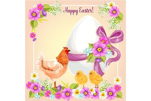 Easter greeting card vector flowers, paschal egg