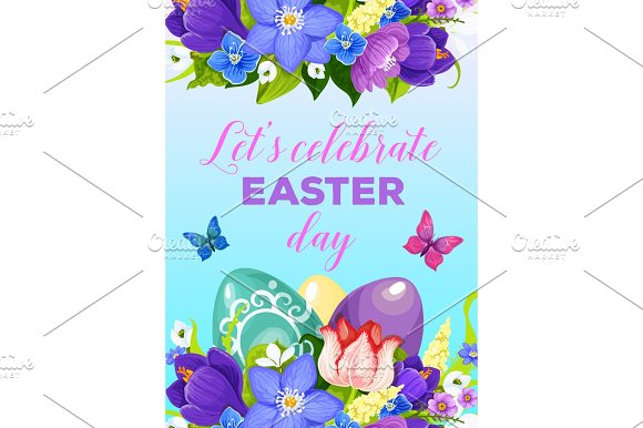 Easter Paschal Eggs Flowers Vector Greeting Poster