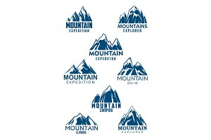 Mountain vector icons for climbing or hiking sport