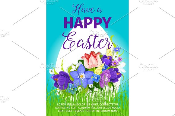 Happy Easter Egg Greeting Poster Vector Design