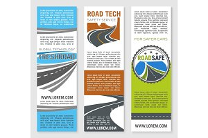 Road safety service technology vector banners