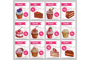 Dessert cakes vector price cards set