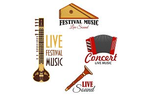 Musical instruments vector icons for music concert