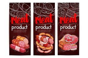 Butcher shop meat sausages vector banners