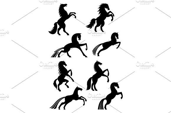 Horses Heraldic Silhouette Vector Icons
