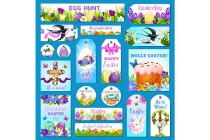 Easter cards, tags, banners vector greeting set