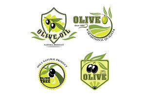 Olive oil vector product icons set