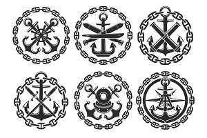 Marine and nautical heraldic anchor vector icons