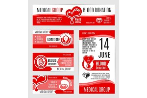 Blood donation or AIDS day vector posters