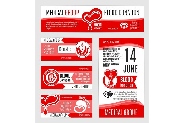 Blood donation or AIDS day vector p…