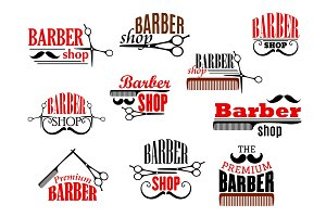 Barber shop beards and mustaches vector icons