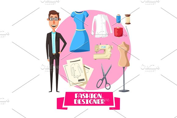 Fashion Designer Profession Vector Accessories