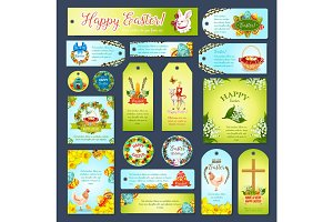Easter greeting cards, tags, banners vector set