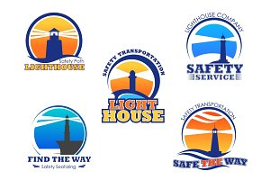 Lighthouse or beacon vector isolated icons set