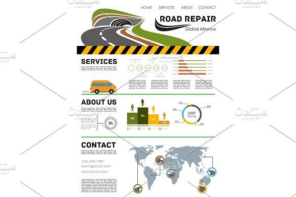 Road Construction Service Vector Landing Page