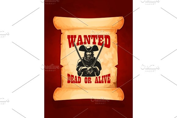 Wanted Dead Or Alive Vector Poster