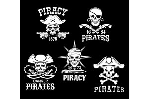 Pirate Jolly Roger symbols or vector icons set