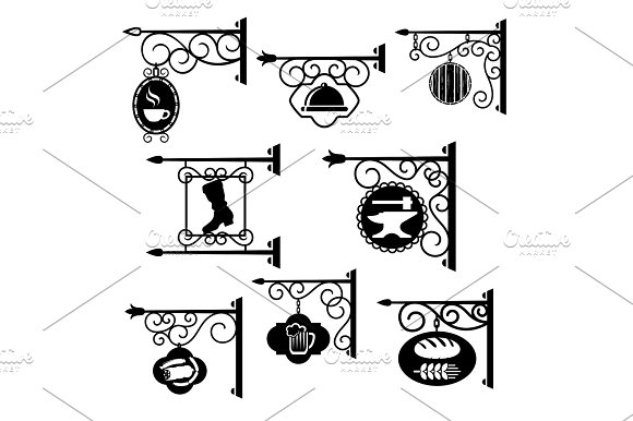Shop And Workshop Metal Forged Signs Vector Icons