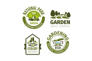 Green park or garden design vector icons