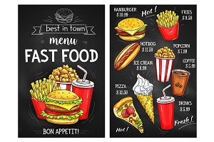 Fast food menu price vector sketch template