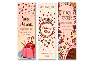 Bakery shop pies and pastry cakes vector banners