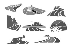 Roads and highways isolated vector icons