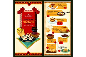 Mexican restaurant cuisine vector menu