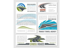 Road service and building company vector templates