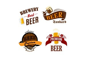 Beer pub vector isolated icons for brewery bar