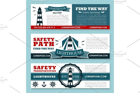 Lighthouse Vector Banners For Safety Seafaring