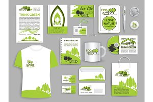 Corporate identity set ecology company templates