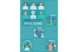 Hospital personnel vector poster template