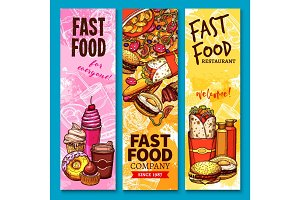 Fast food vector sketch welcome or menu banners