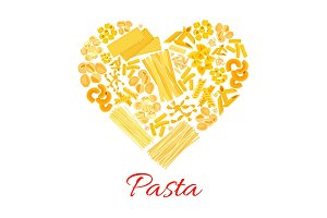 Pasta and Italian macaroni vector heart poster