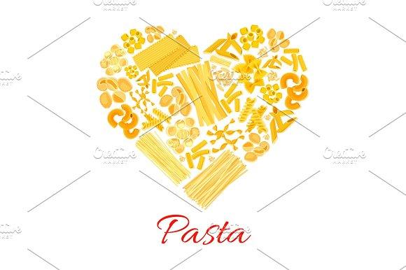 Pasta And Italian Macaroni Vector Heart Poster