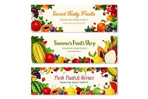 Fruits and berries vector farm banners templates