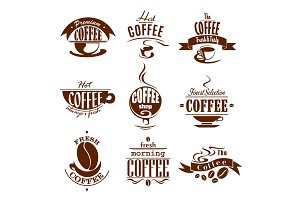 Coffee cups for shop or cafeteria vector icons