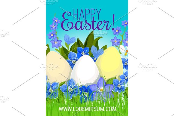 Easter Poster Paschal Eggs Flowers Vector Greeting