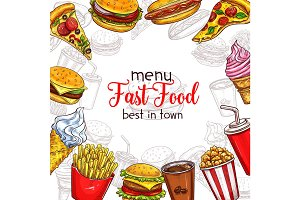 Fast food vector sketch menu template