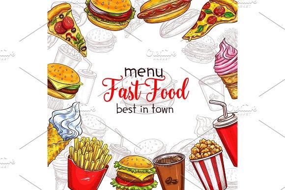 Fast Food Vector Sketch Menu Template