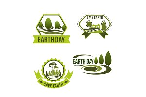 Vector icons set for earth day or ecology company