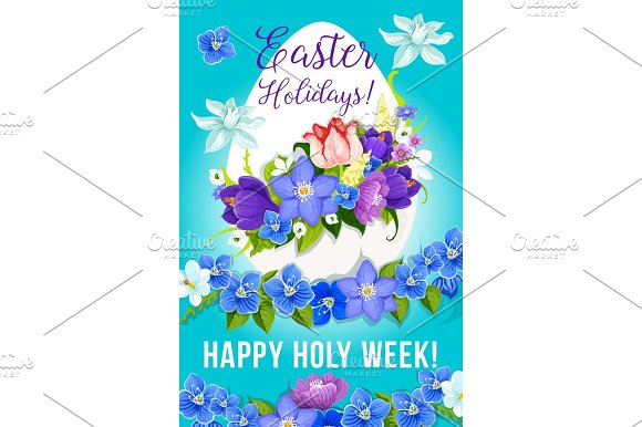 Easter Greeting Paschal Egg Flowers Vector Poster