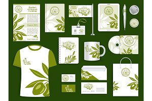 Corporate identity olive oil company templates set