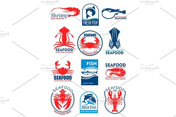 Seafood Vector Icons For Restaurant Menu