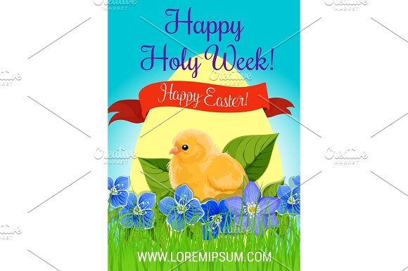 Happy Easter Holy Week Paschal Vector Greeting
