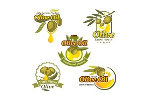 Olive oil vector icons product label template set
