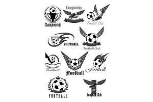 Football club vector icons for soccer championship